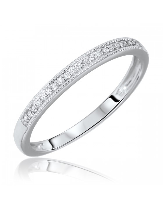1/15 Carat T.W. Round Cut Diamond Ladies Wedding Band 10K White Gold