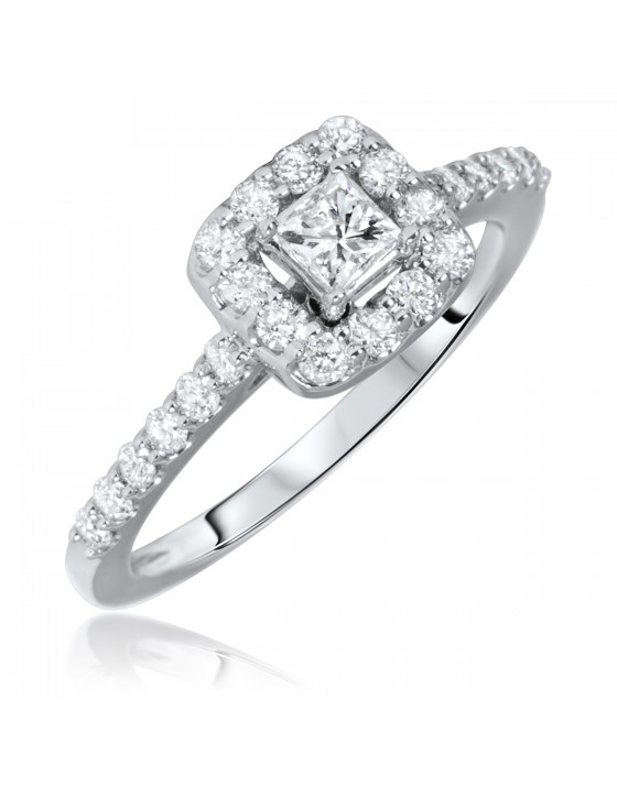 3/4 Carat T.W. Princess, Round Cut Diamond Ladies Engagement Ring 14K White Gold