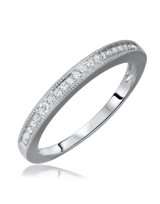 1/7 Carat T.W. Round Cut Diamond Ladies Wedding Band 14K White Gold
