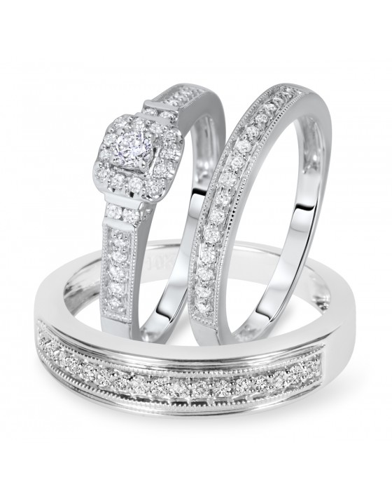 3/8 Carat T.W. Solitaire, Princess Cut Diamond Matching Trio Set 10K White Gold