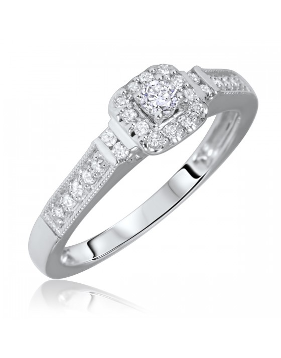 1/5 Carat T.W. Rounds Cut Diamond Ladies Engagement Ring 14K White Gold