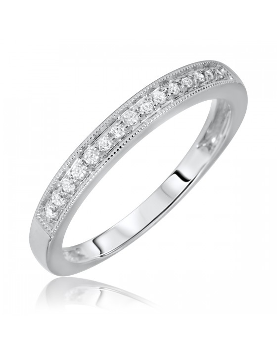 1/10 Carat T.W. Rounds Cut Diamond Ladies Wedding Band 10K White Gold