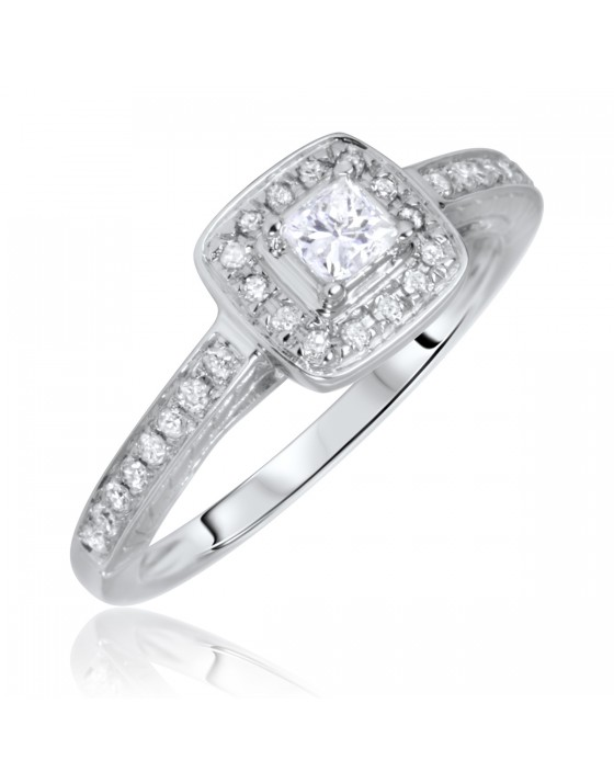 3/8 Carat T.W. Princess, Round Cut Diamond Ladies Engagement Ring 14K White Gold