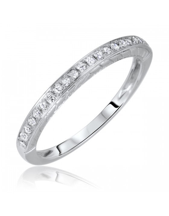 1/8 Carat T.W. Rounds Cut Diamond Ladies Wedding Band 14K White Gold