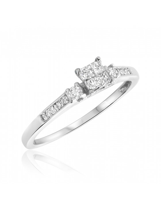 1/4 Carat T.W. Princess, Round, Baguette Cut Diamond Ladies Engagement Ring 14K White Gold