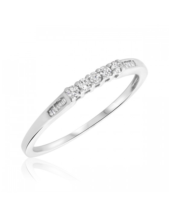 1/6 Carat T.W. Round, Baguette Cut Diamond Ladies Wedding Band 14K White Gold
