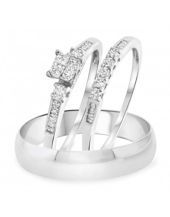 3/8 Carat T.W. Princess, Round, Baguette Cut Diamond Trio Wedding Set 14K White Gold