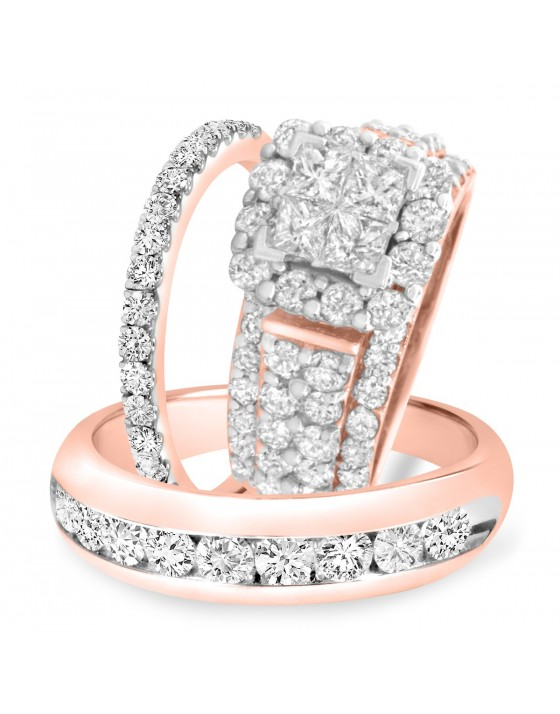 4 3/8 Carat T.W. Princess, Round Cut Diamond Trio Wedding Set 10K Rose Gold