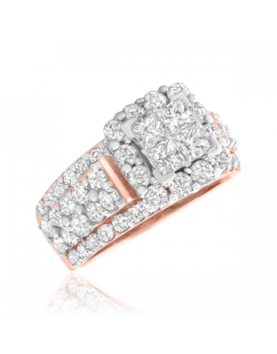 3 Carat T.W. Princess, Round Cut Diamond Ladies Engagement Ring 10K Rose Gold
