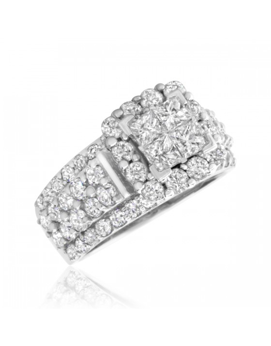 3 Carat T.W. Princess, Round Cut Diamond Ladies Engagement Ring 10K White Gold