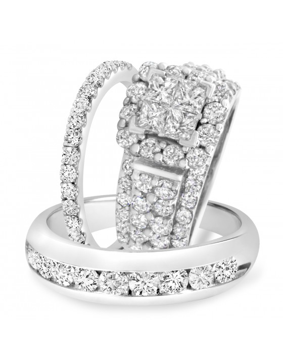 4 3/8 Carat T.W. Princess, Round Cut Diamond Trio Wedding Set 14K White Gold