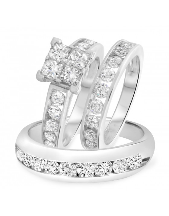 4 Carat T.W. Princess, Round Cut Diamond Trio Wedding Set 10K White Gold