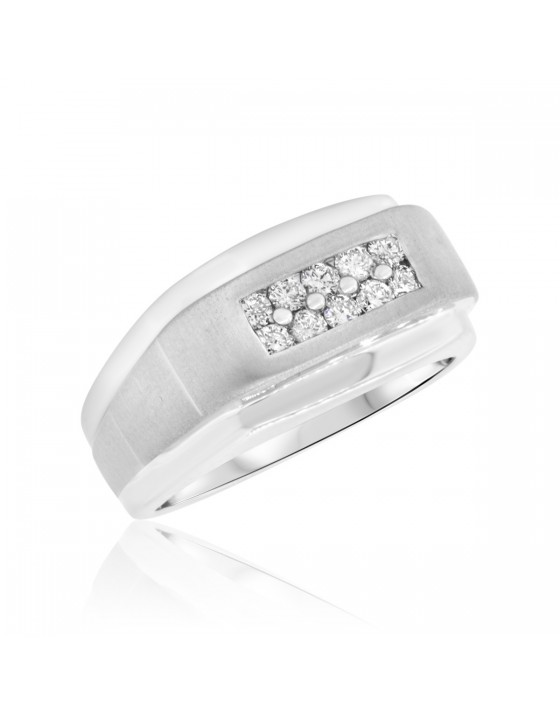 1/2 CT. T.W. Diamond Mens Wedding Band 14K White Gold