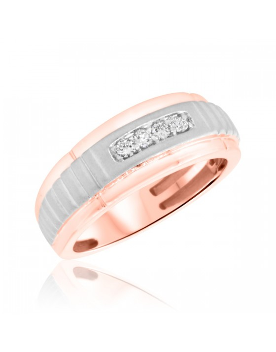 1/7 CT. T.W. Diamond Mens Wedding Band  14K Rose Gold