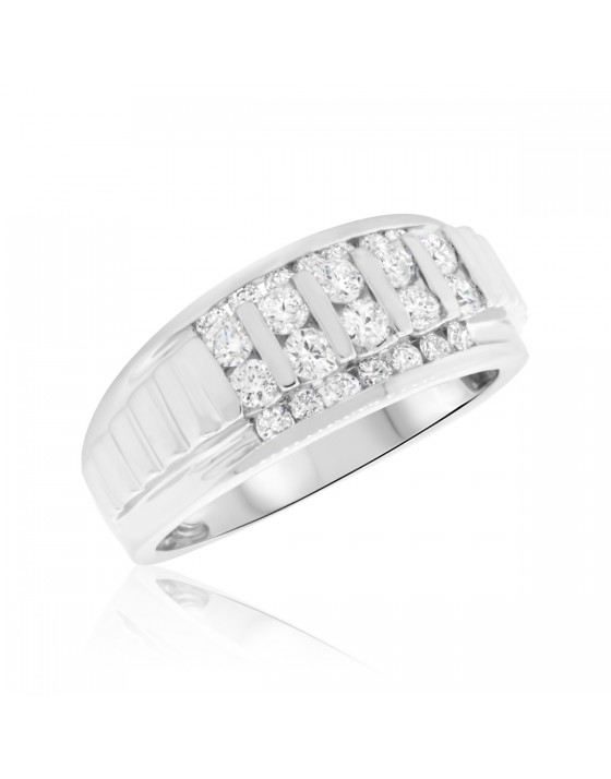 1 Carat T.W. Diamond Mens Wedding Band  14K White Gold