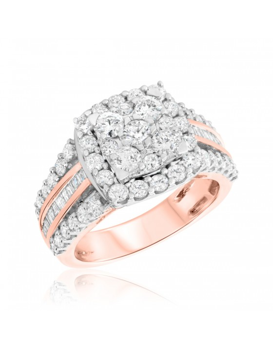 2 CT. T.W. Diamond Engagement Ring 14K Rose Gold