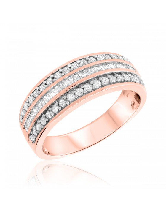 3/4 CT. T.W. Diamond Mens Wedding Band 14K Rose Gold