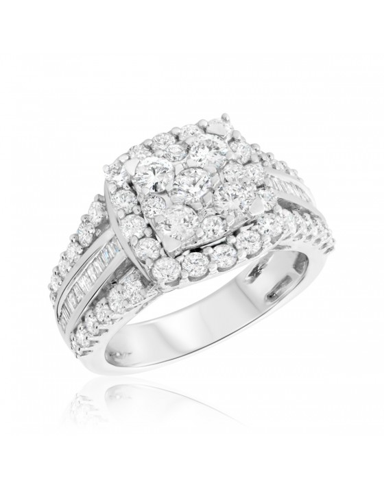 2 Carat T.W. Diamond Engagement Ring 10K White Gold
