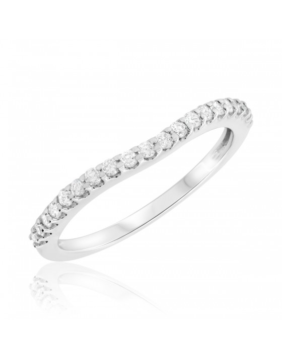 1/4 CT. T.W. Diamond Ladies Wedding Band 14K White Gold