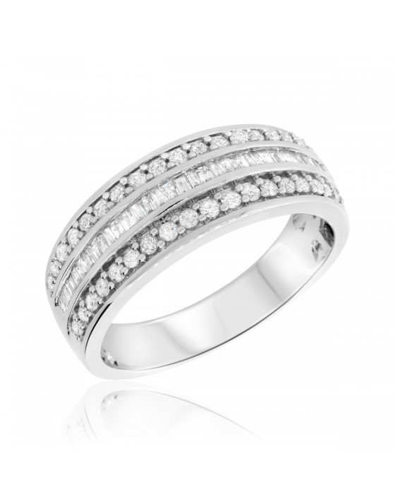 3/4 Carat T.W. Diamond Mens Wedding Band 10K White Gold