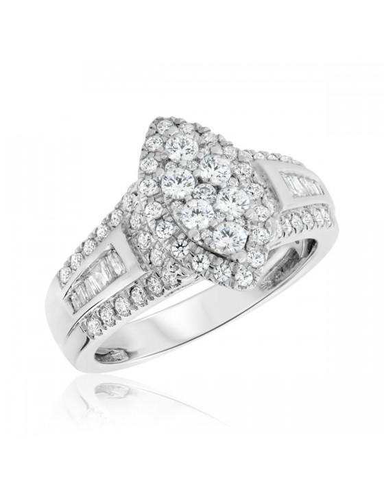 1 Carat T.W. Diamond Engagement Ring 10K White Gold