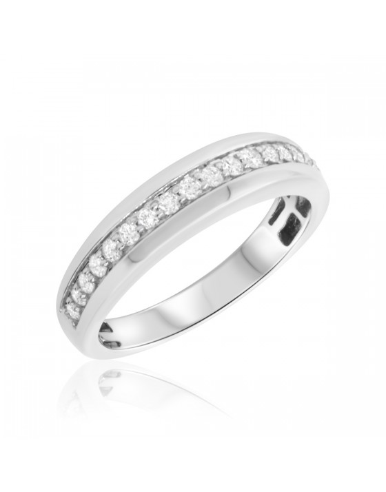 1/2 Carat T.W. Diamond Mens Wedding Band  14K White Gold