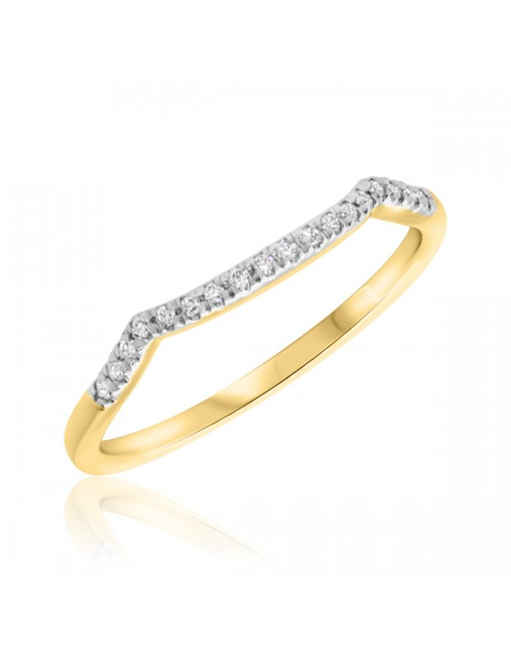 1/10 CT. T.W. Diamond Ladies Wedding Band  14K Yellow Gold