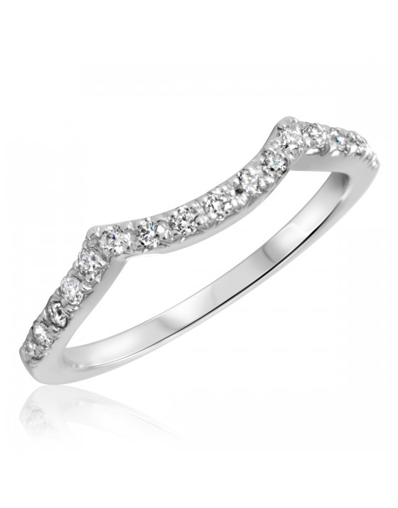 1/3 Carat T.W. Round Cut Diamond Ladies Wedding Band 14K White Gold