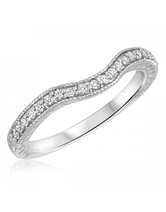 1/6 Carat T.W. Round Cut Diamond Ladies Wedding Band 14K White Gold