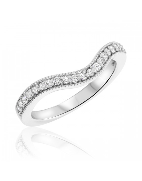 1/5 Carat T.W. Round Cut Diamond Ladies Wedding Band 10K White Gold