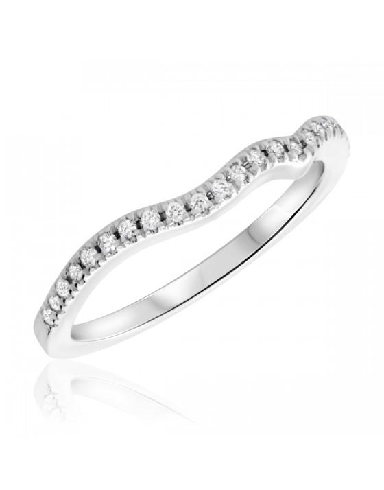 1/10 Carat T.W. Round Cut Diamond Ladies Wedding Band 10K White Gold