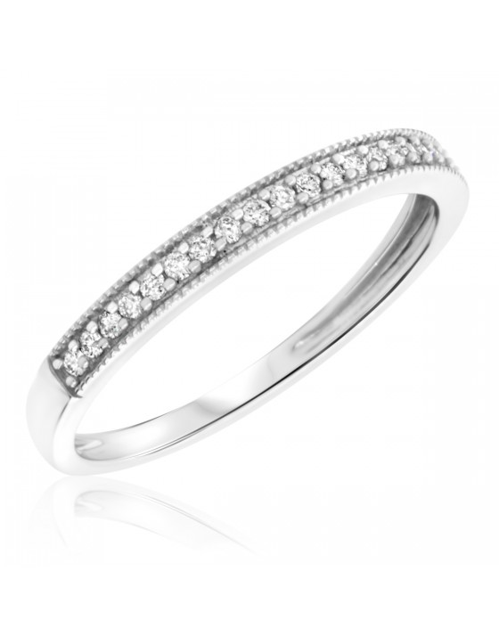 1/8 Carat T.W. Round Cut Diamond Ladies Wedding Band 10K White Gold