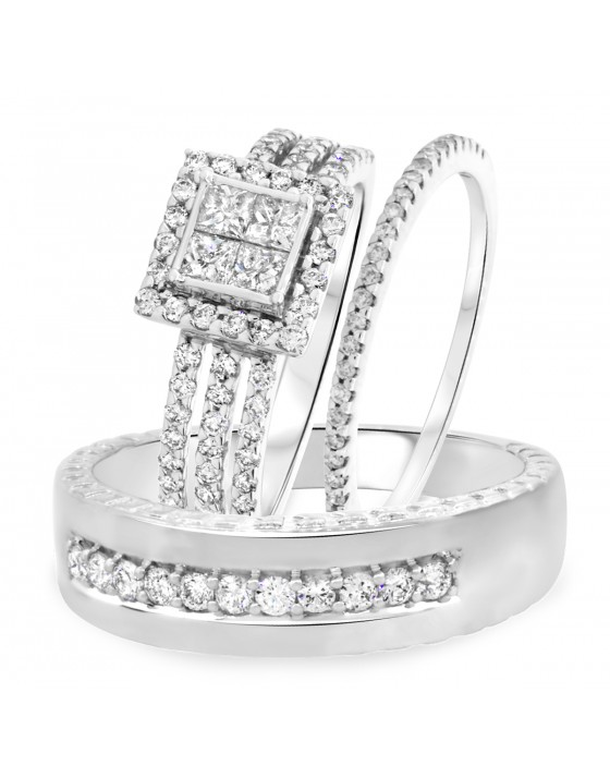 1 1/3 Carat T.W. Round, Princess Cut Diamond Trio Wedding Set 10K White Gold