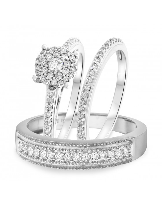 7/8 Carat T.W. Round Cut Diamond Trio Wedding Set 14K White Gold