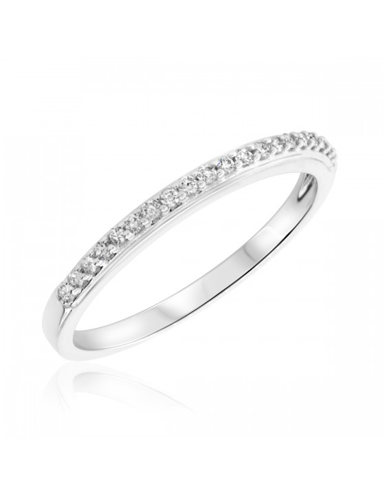 1/7 Carat T.W. Round Cut Diamond Ladies Wedding Band 10K White Gold