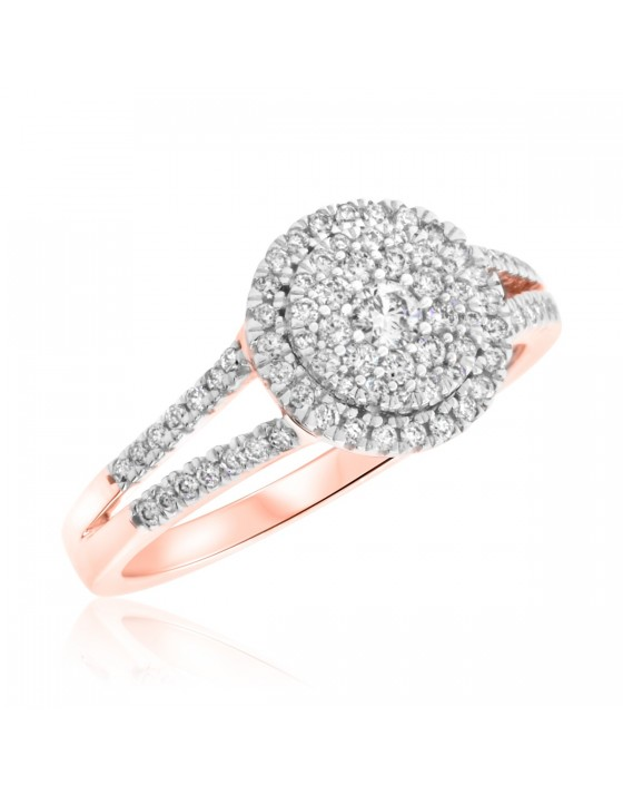 1/2 Carat T.W. Round Cut Diamond Ladies Engagement Ring 10K Rose Gold