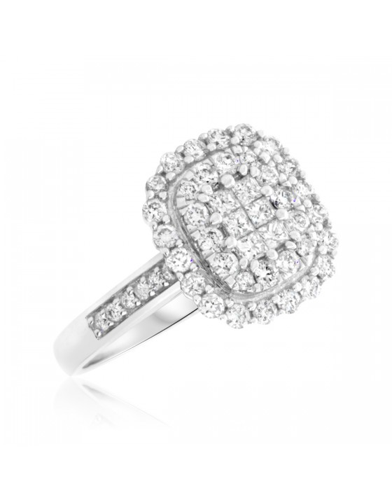 7/8 Carat T.W. Princess, Round Cut Diamond Ladies Engagement Ring 10K White Gold