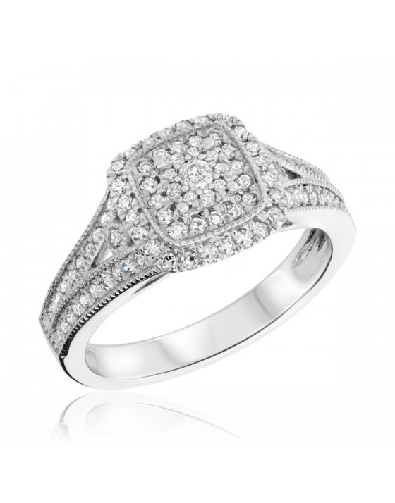 1/2 Carat T.W. Diamond Engagement Ring 14K White Gold