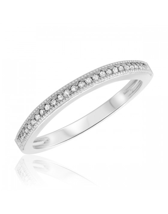 1/10 CT. T.W. Diamond Ladies Wedding Band  14K White Gold