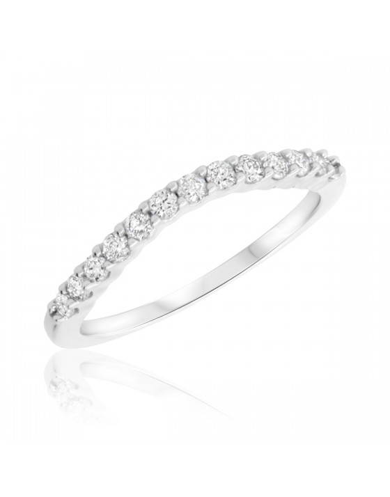 1/3 Carat T.W. Diamond Ladies Wedding Band  10K White Gold