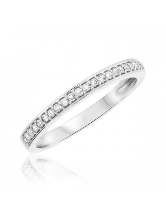 1/6 CT. T.W. Diamond Ladies Wedding Band  10K White Gold