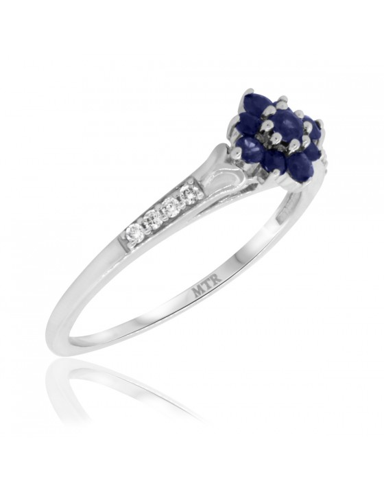 3/8 CT. T.W. Sapphire Engagement Ring 10K White Gold