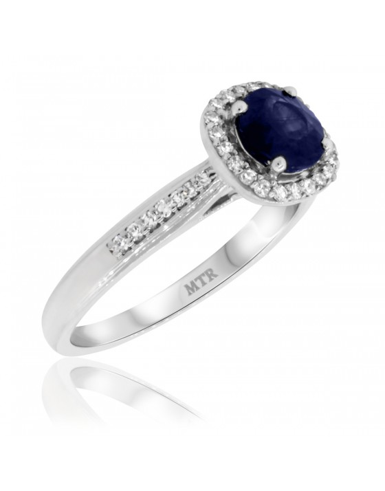1 1/5 CT. T.W. Sapphire Engagement Ring 10K White Gold