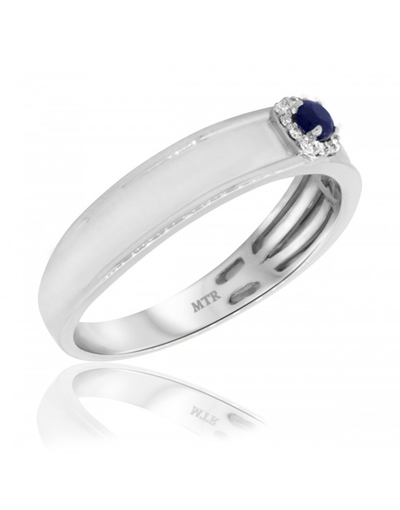 1/5 CT. T.W. Sapphire Mens Wedding Band  10K White Gold