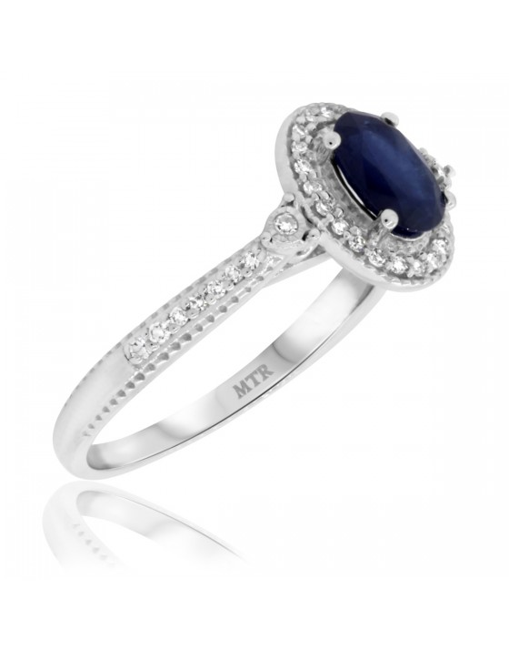 1 1/6 CT. T.W. Sapphire Engagement Ring 14K White Gold
