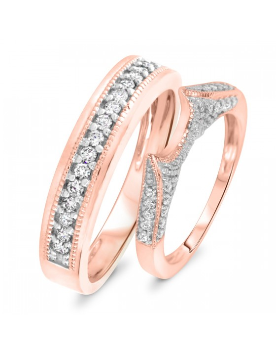 1/2 Carat T.W. Diamond Ladies' and Men's Wedding Rings 10K Rose Gold