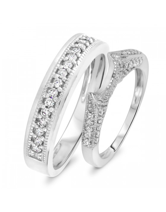 1/2 Carat T.W. Diamond Ladies' and Men's Wedding Rings 10K White Gold