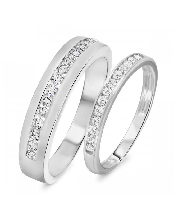 2/3 Carat T.W. Diamond His And Hers Wedding Band Set 14K White Gold