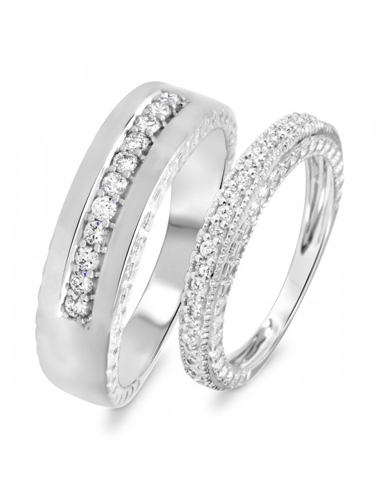 1/2 Carat T.W. Diamond Ladies' and Men's Wedding Rings 14K White Gold