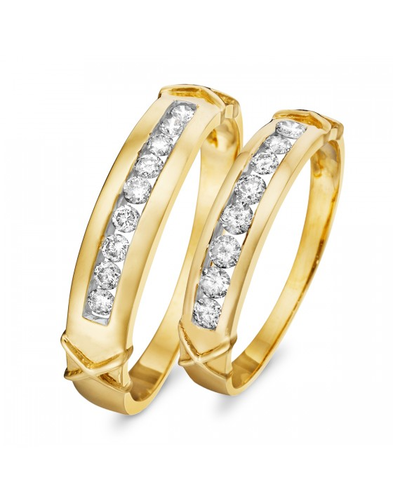 5/8 CT. T.W. Diamond Ladies' and Men's Wedding Set 14K Yellow Gold